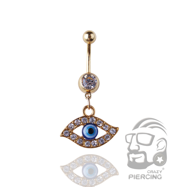 Us 1 16 14 Off Trinket Evil Eye Belly Button Ring 14g 316l Surgical Steel Body Piercing Jewelry Dangle Navel Ring On Aliexpress Com Alibaba Group
