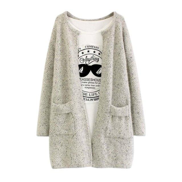 Новая Зимняя Длинный Рукав Кардиган Свитер Женщин Трикотажные Повседневная Пиджаки Моды Пальто