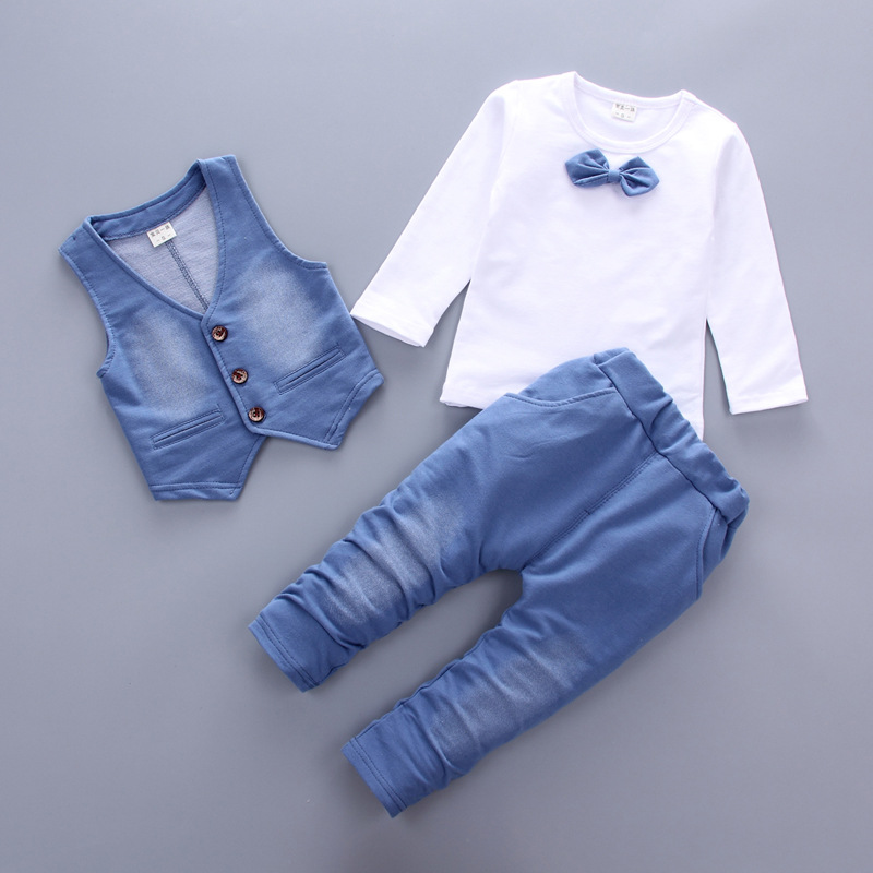 Hot sale 2017 Spring Autumn new fashion baby boy clothes 3pcs set denim style cotton with tie children clothing suit  A014 new hot sale 2016 korean style boy autumn and spring baby boy short sleeve t shirt children fashion tees t shirt ages