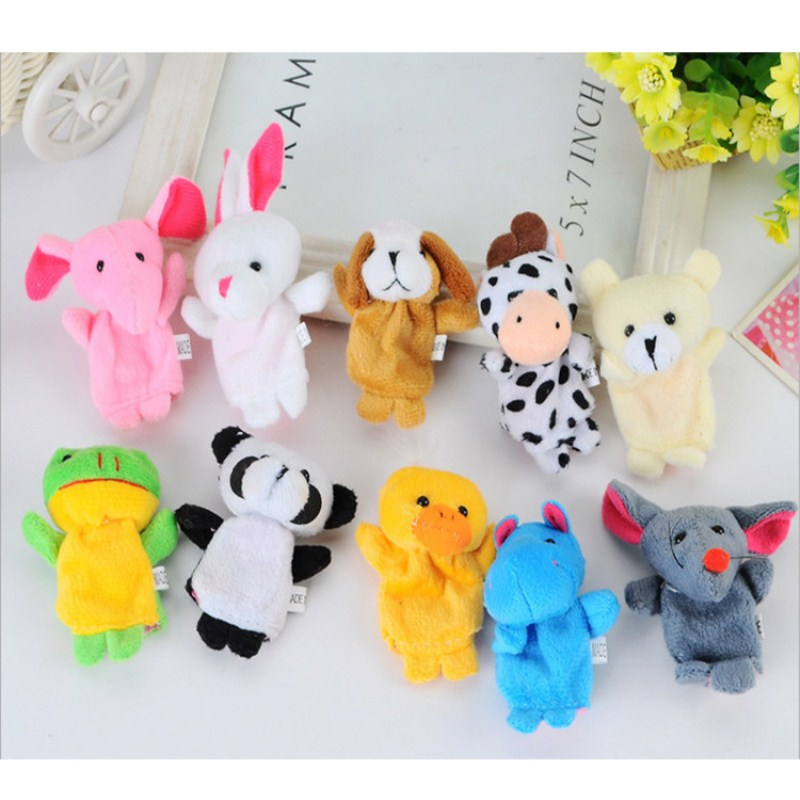 Puppe Kawaii Cartoon Animal Creature Finger Puppet Plush Toy Baby Cloth Education Finger Toy Story Puppet Children Classic  Toys