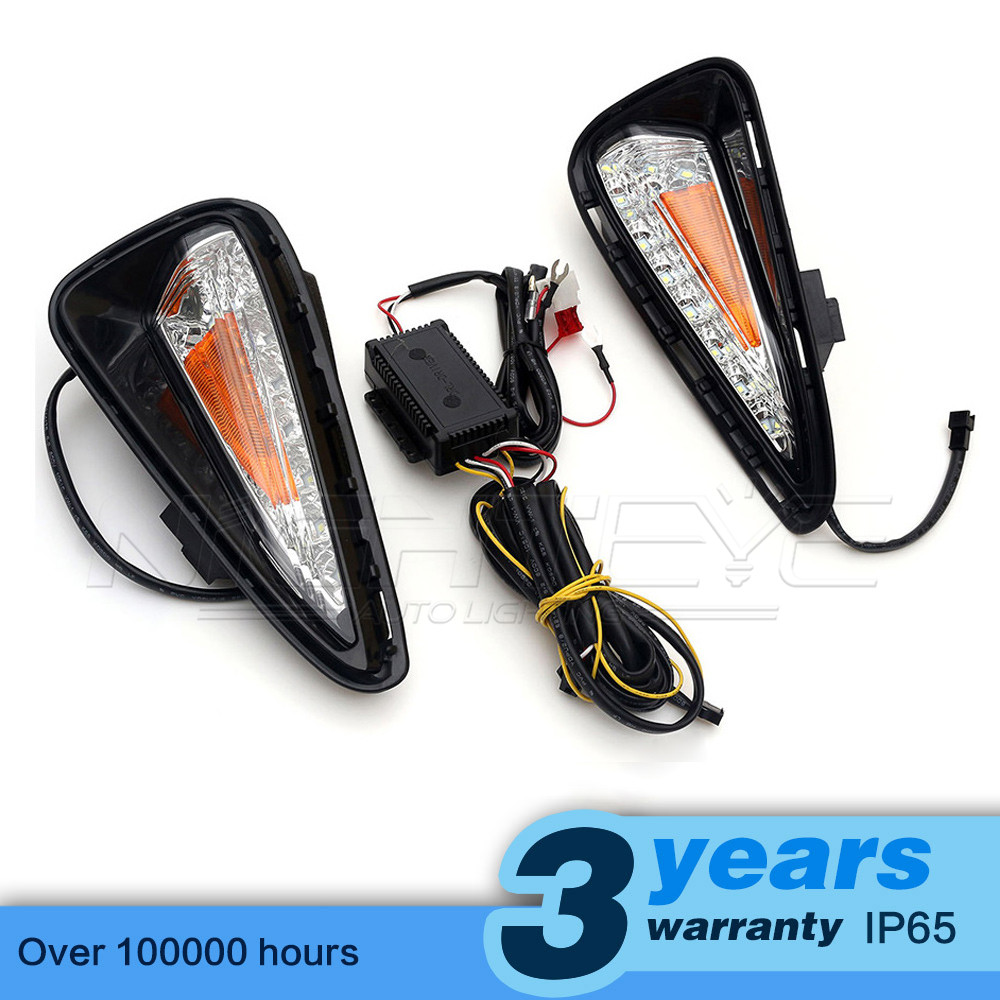 High Quality Car-special LED Daytime Running Light with Turn Signal Yellow for TOYOTA CAMRY 2015 DRL D15 special car trunk mats for toyota all models corolla camry rav4 auris prius yalis avensis 2014 accessories car styling auto