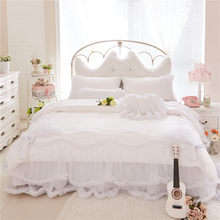 White Lace Cotton Princess Bedding Set King Queen Twin Size Girls Women Bed skirt set Stain Jacquard Duvet Cover Pillow shams(China)