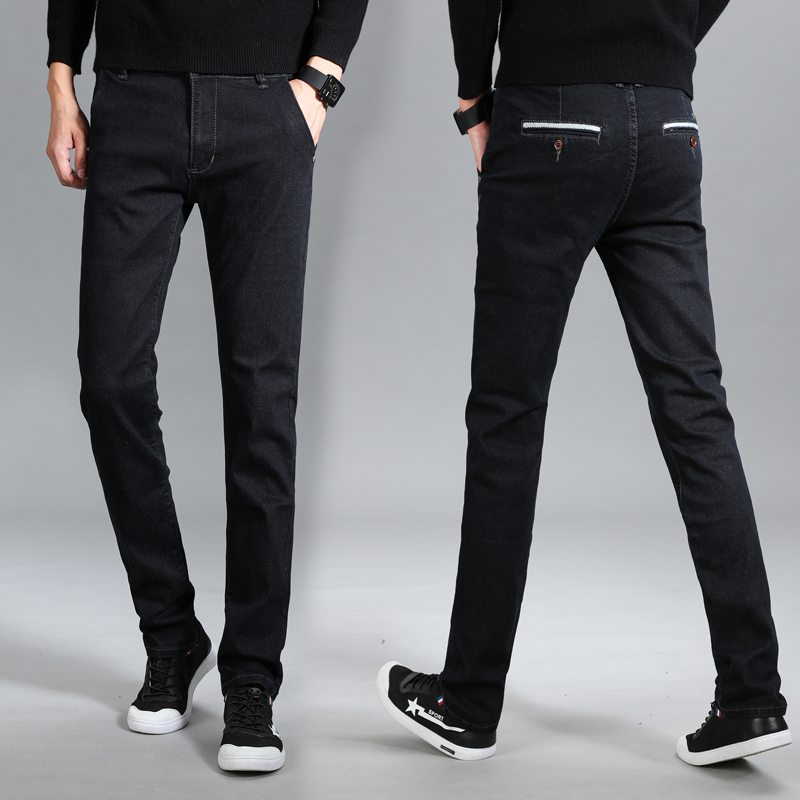 mens elastic Slim pants personality large size casual highly elatic Straight long trousers Spring and summer black Korean jeans