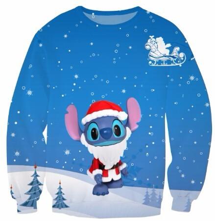 9907e9912 Unisex Spring Lilo Stitch Christmas Santa Claus Sweatshirt Crewneck ...