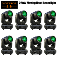Manufacturer 8 Pack 250W Moving Head Beam Spot Stage Light Big Lyre Gobo Prism Rotating Effect for DJ Disco Club Theater