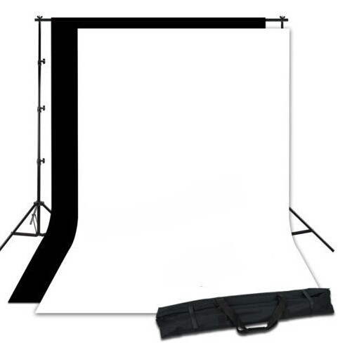 Photography Studio Background Stand Support System Kit Photography Set+ Black And White Non-woven Backdrop lightdow 2x3m 6 6ftx9 8ft adjustable backdrop stand crossbar kit set photography background support system for muslins backdrops