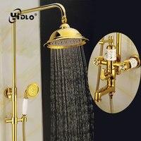 YiDLon наборы для душа и ванной роскошный золотой Латунный смеситель для душа набор одной ручкой один держатель двойной контроль смеситель дл