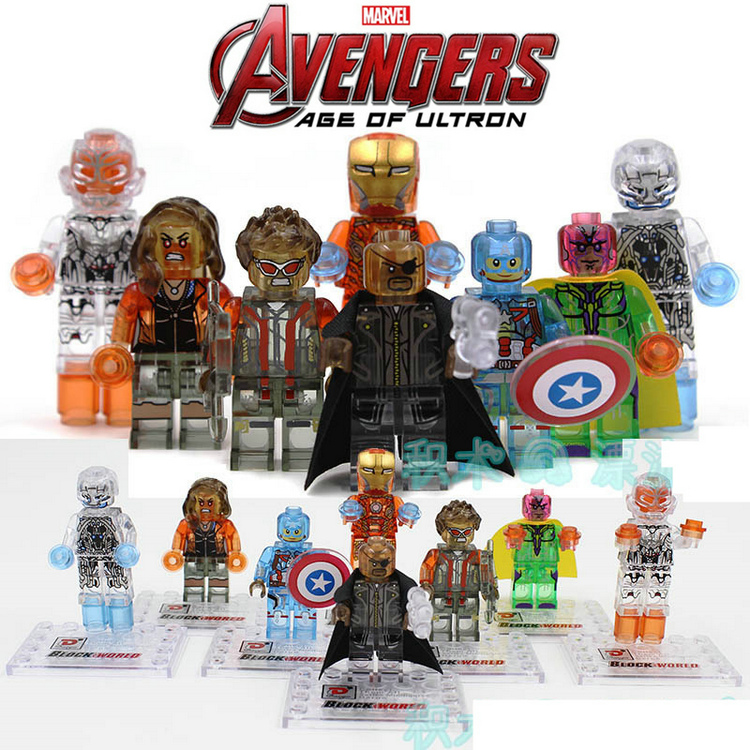 8pcs Crystal Translucent Iron Man Vision Nick Mark Scarlet Wanda Ultron Super Heroes Avengers Action Figure Blocks Minifig Toys marvel super heroes avengers wonda iron man mk anti hulkbuster thor vision ultron assemble building blocks minifig kids toys