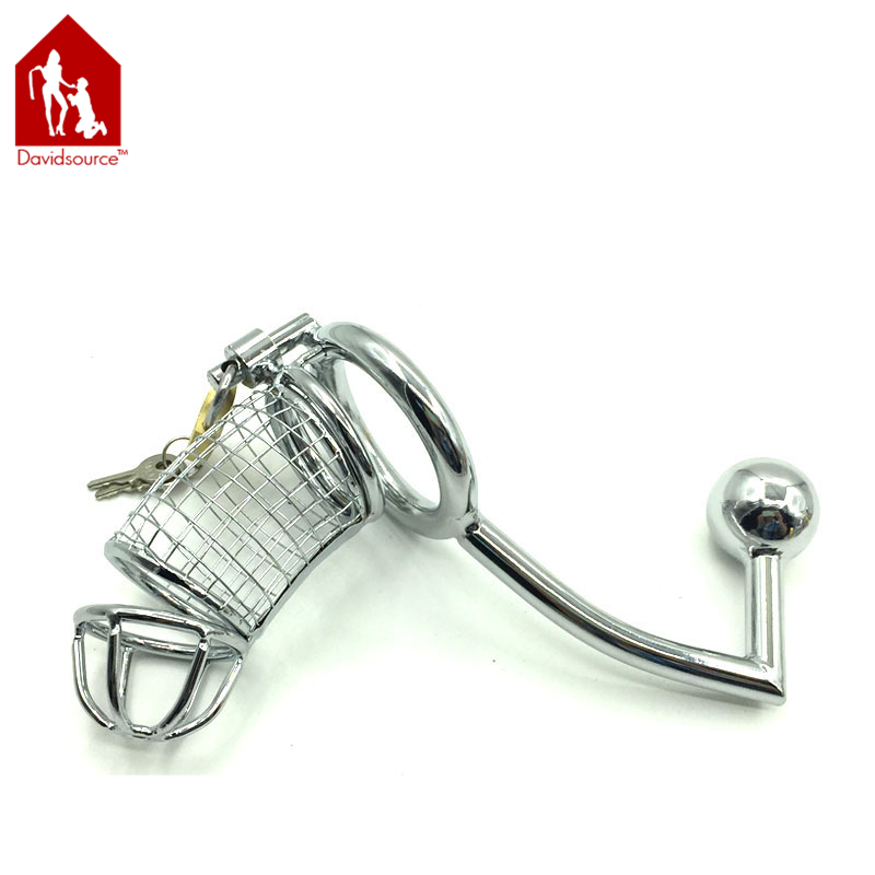 Davidsource Metal Wire Cock Cage With Butt Plug Pubic Enemy Chastity Device Male Penis Torture Kit Fetish Men Sex Toy