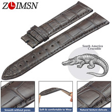 ZLIMSN Crocodile Leather Brown Men and Women Watch Band 22mm Fashion Circle Pattern Hand-Stitched Custom Luxury Strap 12mm-26mm все цены