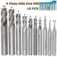 10Pcs Set HSS Straight Shank 4 Flute End Mill CNC Cutter Drill Bit Tool For Milling