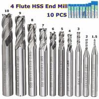10Pcs Set HSS Straight Shank 4 Flute End Mill CNC Cutter Drill Bit Tool For Milling