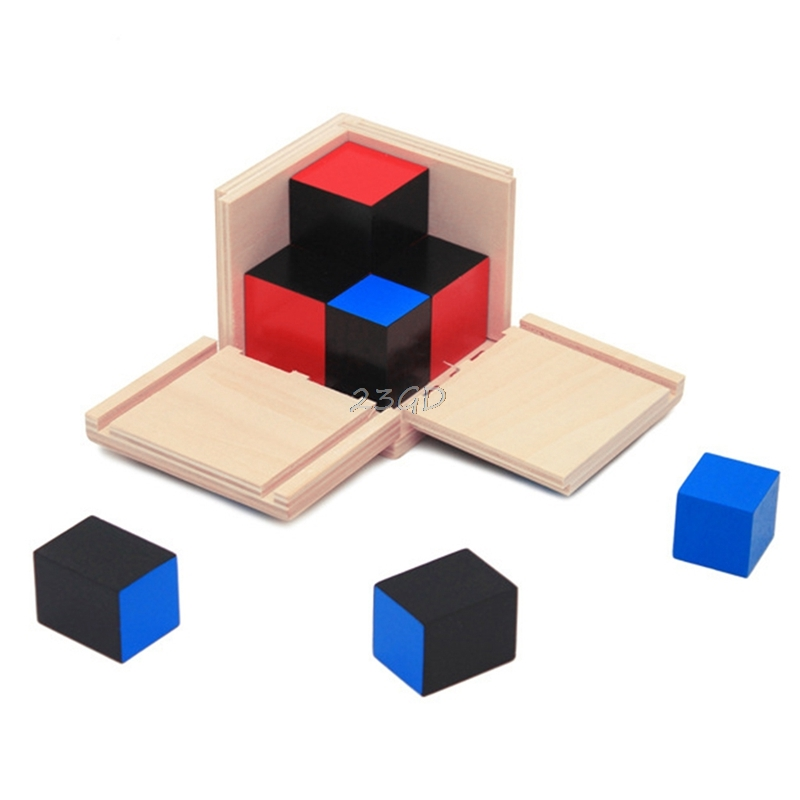 2017  Preety Kid Montessori Early Learning Algebra Mathematics Binomial Cube Set Wooden Toy   MAY2_35