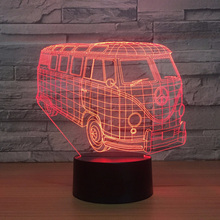 Kid Touch Button 3D Visual Bus Modelling Led Baby Sleep Atmosphere Night Light Usb Lighting Home Decor Living Room Car Desk Lamp цена в Москве и Питере