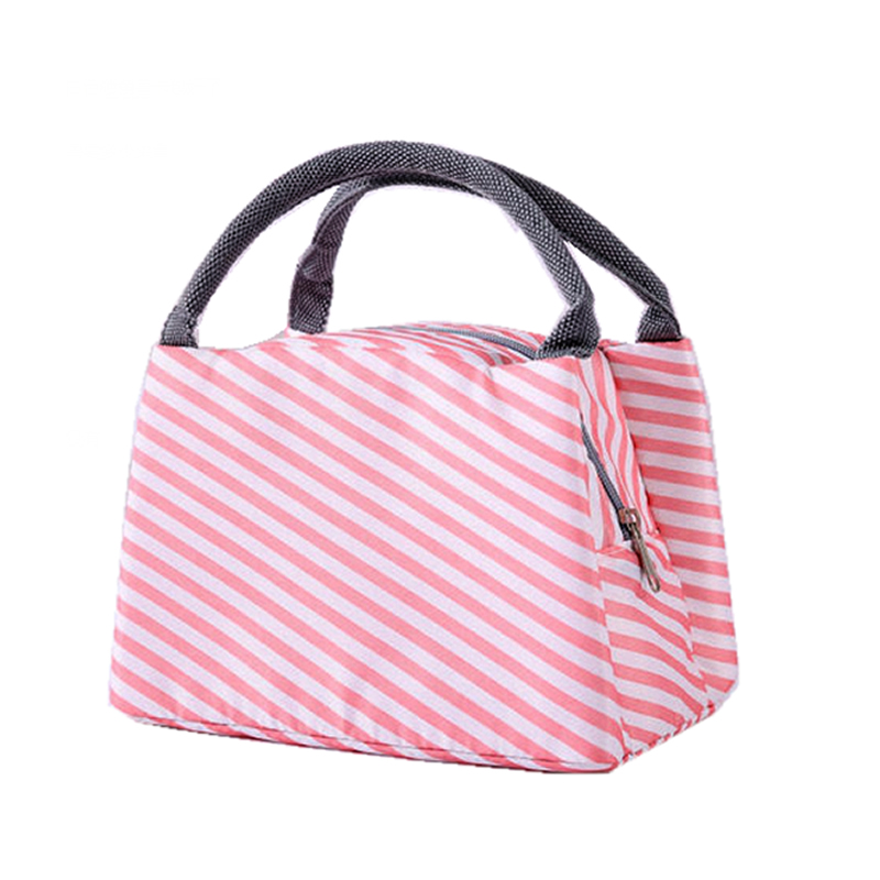 Women Animal Flamingo Lunch Bags Portable Functional Canvas Stripe Insulated Thermal Food Picnic Kids Cooler Lunch Box Bag Tote aequeen thermal lunch bag for kid cute flamingo picnic boxes canvas cartoon animal printing food cooler bags insulated tote