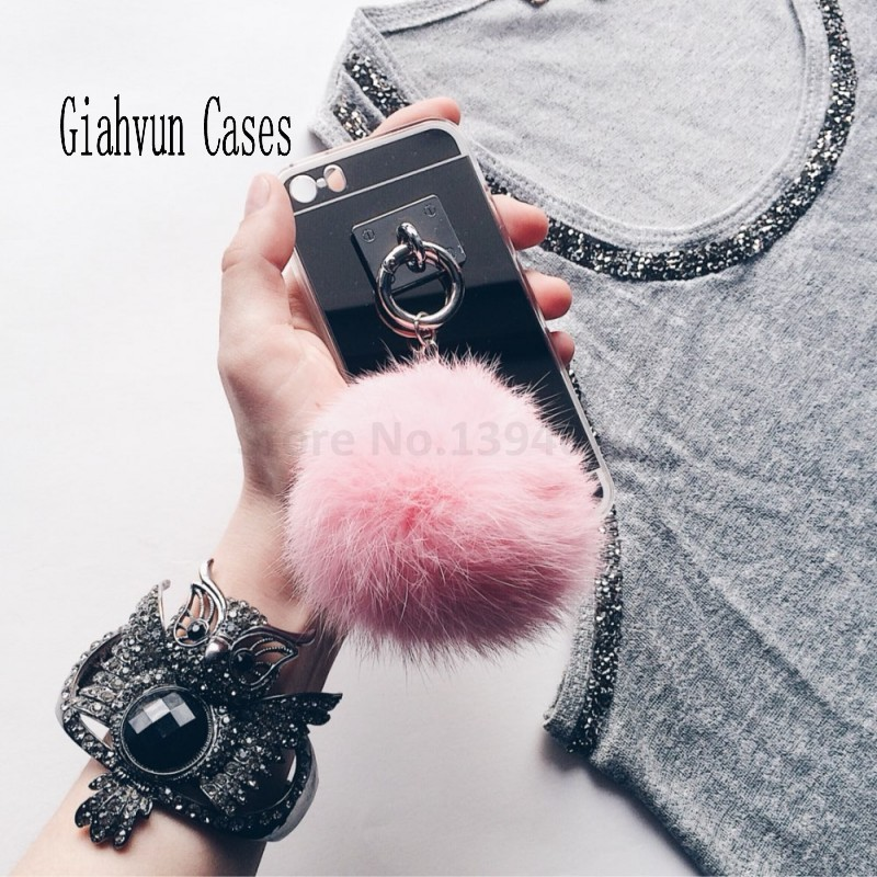 Metal Rope silver Mirror TPU Tassel Back Cover rabbit ball For A 5 7 8 Note 3 4 5 S 5 6 7 S8 EDGE G530 For iphone 4 5 6 7 s plus