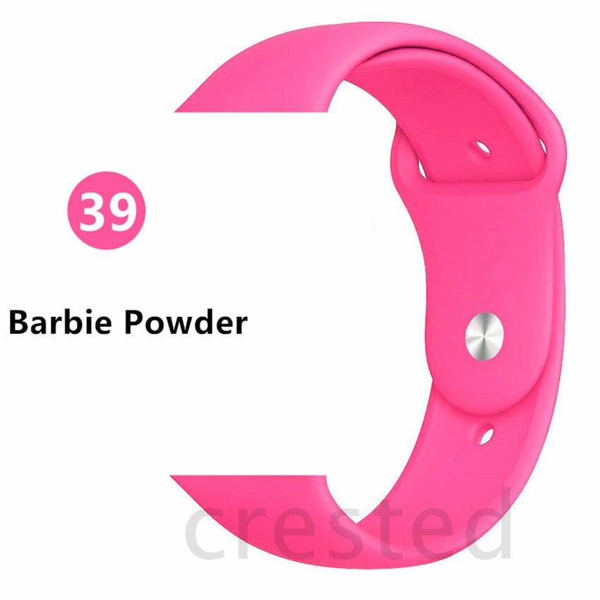Силиконовый ремешок для apple watch 4 5 44 мм/40 мм спортивный ремешки для apple watch 3 42 мм/38 мм резиновый ремень браслет ремешок для часов apple watch Band Мягкий красочный ремешок iwatch series 4 3 2 1 - Цвет ремешка: Barbie powder