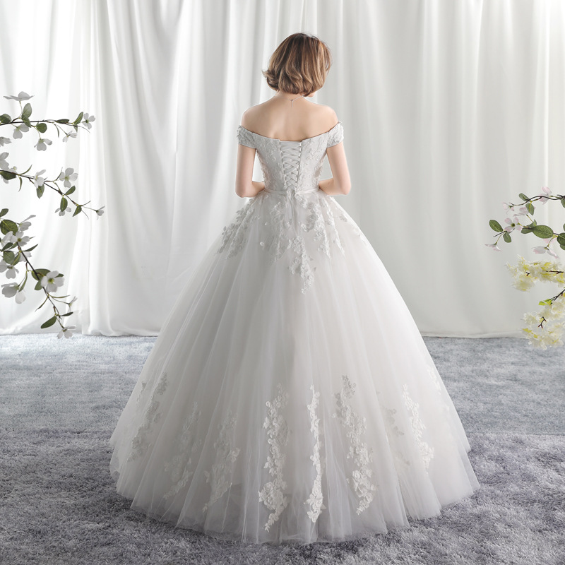 Popodion wedding dress lace simple wedding gown plus size woman ...