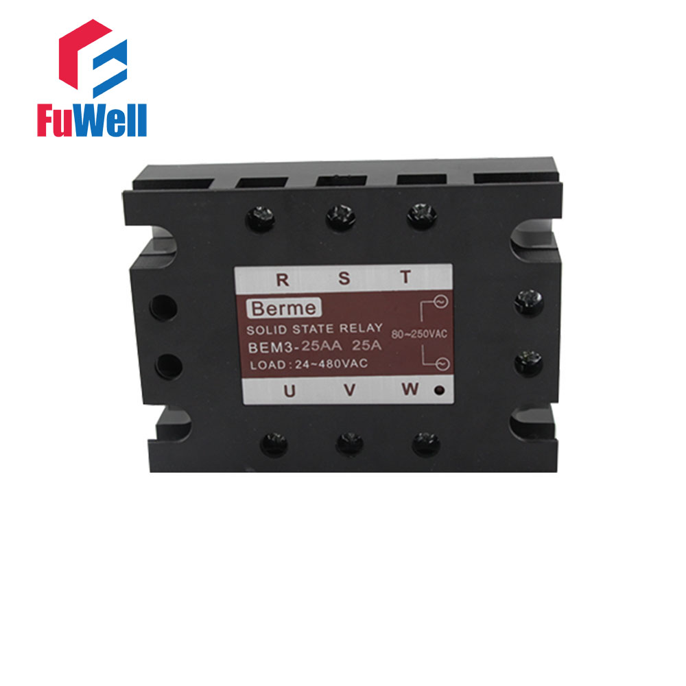 3-phase Solid State Relay SSR AC-AC 25AA Input 80-250V AC Load 24-480V AC ssr 25a single phase solid state relay dc control ac mgr 1 d4825 load voltage 24 480v