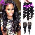 Peruvian Loose Wave Virgin Hair With Closure 10A Grade Unprocessed Human Hair Weave 3 Bundles Peruvian Virgin Hair With Closure