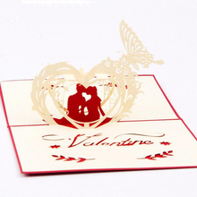 3pcs/lot 3D Paper Laser Cut Greeting Cards Creative Handmade Lovers Postcards Valentine's Day Romantic Gift Cards