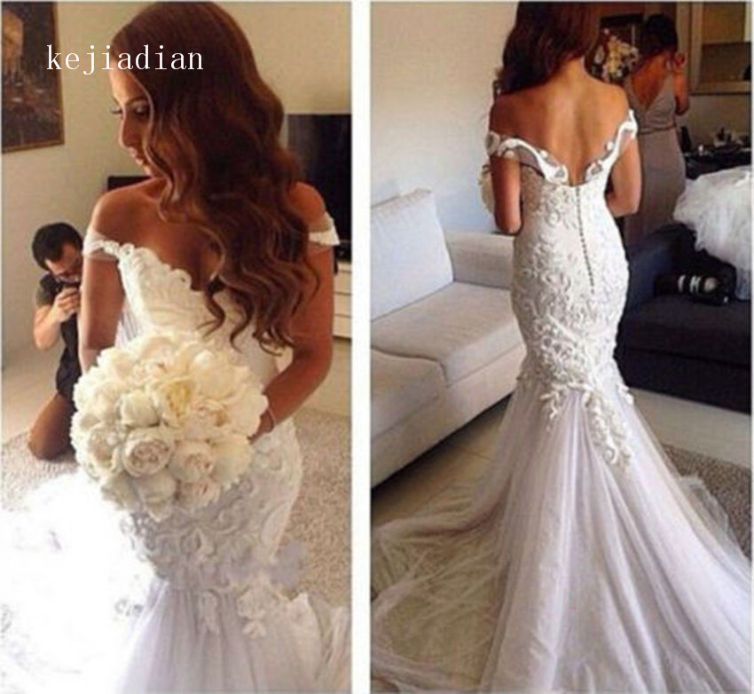 robe de mariage 2019 Luxury sexy Wedding Gowns Mermaid White ivory Wedding dress Bridal Gown vestidos