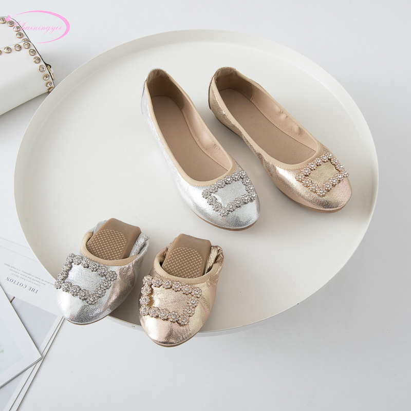 Korean sweet style comfortable soft foldable ballet shoes fashion rhinestone glitter slip-on gold silver flat with women's shoes