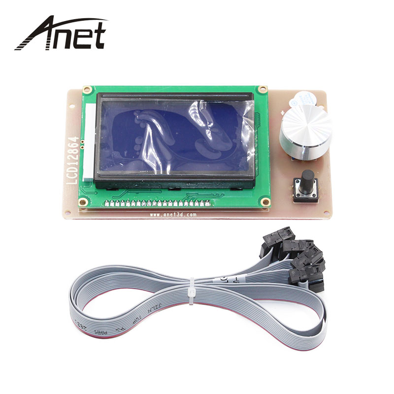 Anet A6 <font><b>12864</b></font> <font><b>LCD</b></font> Smart Display Screen Controller Module with Cable for <font><b>RAMPS</b></font> 1.4 Mega Pololu Shield Reprap 3D Printer Accessory image