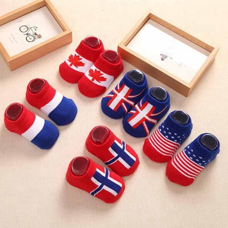 Cotton Anti Slip Rubber Floor Socks Cute Flag pattern Boy Socks Girls Kids  Walking Shoes Newborn Infant socks  0-24 months