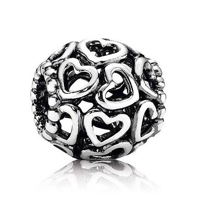 Authentic 925 Sterling Silver Bead Charm Vintage Openwork Open You Heart Heart Beads Fit ...