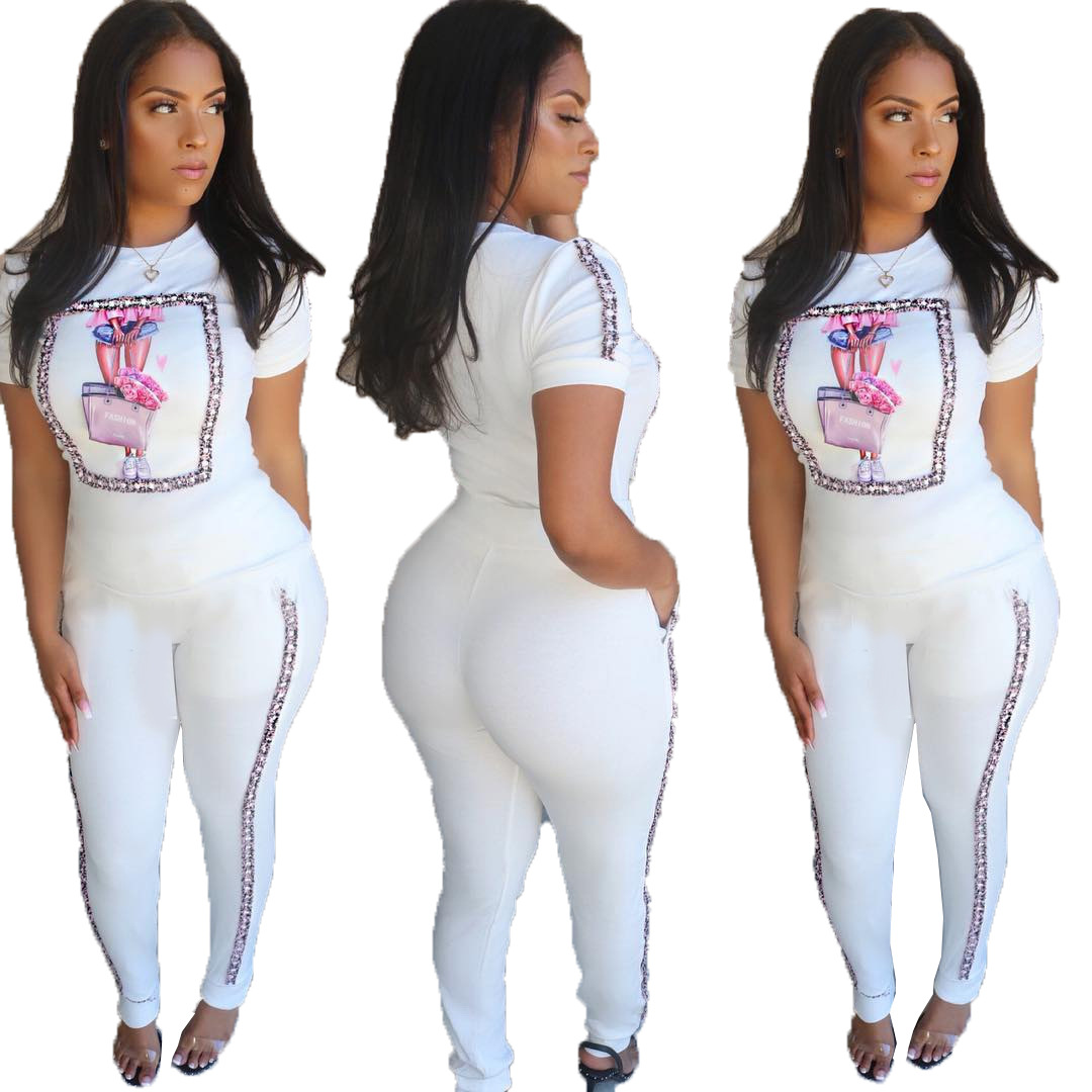 Women Summer Character Striped Splicing Short Sleeve T-shirt Pencil Pants Two Piece Suit Set Sports Overall Tracksuit