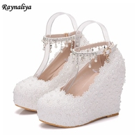 Women Wedding Shoes White Lace Flowers Crystal Bridal Party Pearl Pumps Round Toe Super High Heel Sweet Rinestone Shoes XY B0067