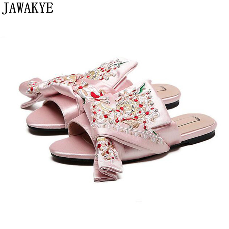Best selling summer Women Slippers satin flat Heels crossover big butterfly embroidery decor slides flip flop cozy Summer shoes-in Slippers from Shoes    2