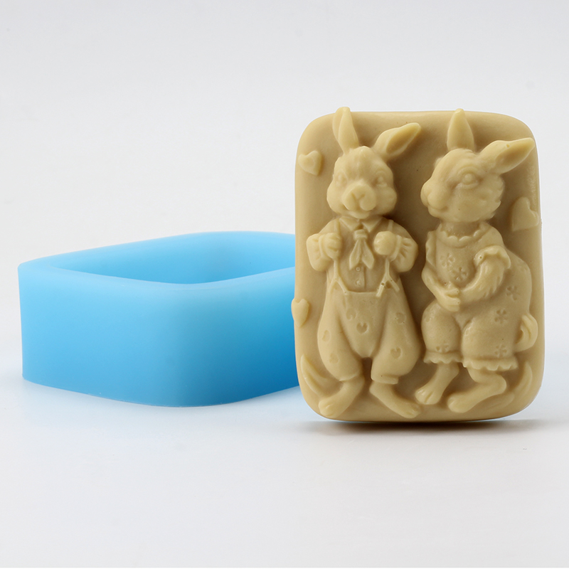 Soap Silicone Mold Lovers Rabbit Pattern Craft Resin Clay Chocolate Candy Mould