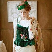 [Lianer] Spring Autumn Original Design Women Flower Embroidery Mori Girls All-match Velour Camis