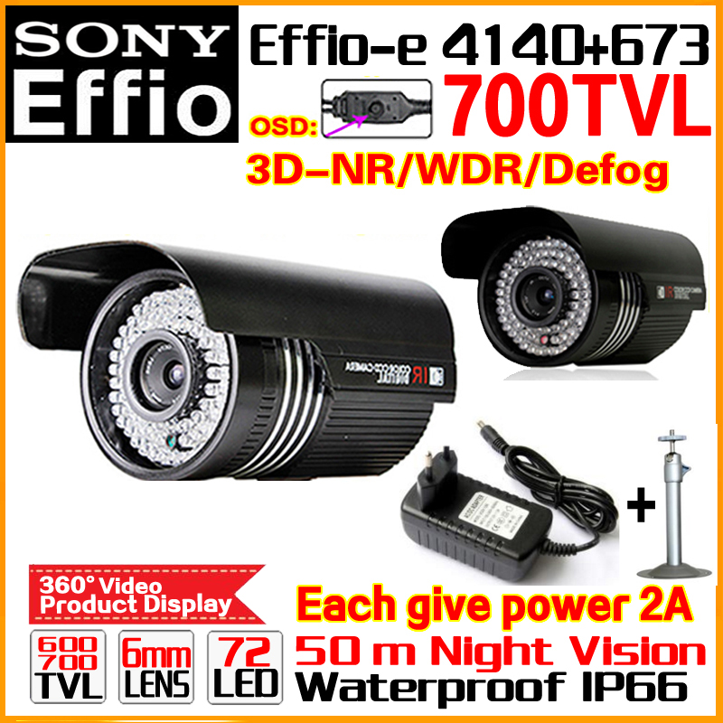 High-End SONY HD Camera 1/3CCD Effio 4140 Real 700tvl Outdoor Waterproof OSD Menu Infrared 72led Night Vision 50m have Bracket 1 3 sony ccd effio e 700tvl 673 4140 osd menu array leds ir 30m outdoor waterproof cctv camera with bracket cy 90v c2010d