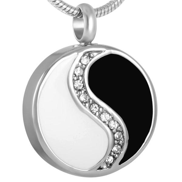 8277 Yingyang Rondes En Acier Inoxydable de style chinois Bijoux Crémation Pendentif Urne Mémorial Souvenir Porte-Cendres Collier