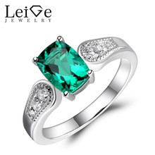 Leige Jewelry Emerald Ring Sterling Silver 925 Green Gemstone Engagement Wedding Rings for Women Cushion Cut May Birthstone