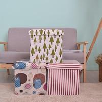 New children's cartoon Cotton + hemp Foldable non woven collection box toy book Admission stool Clothes storage boxs organizer