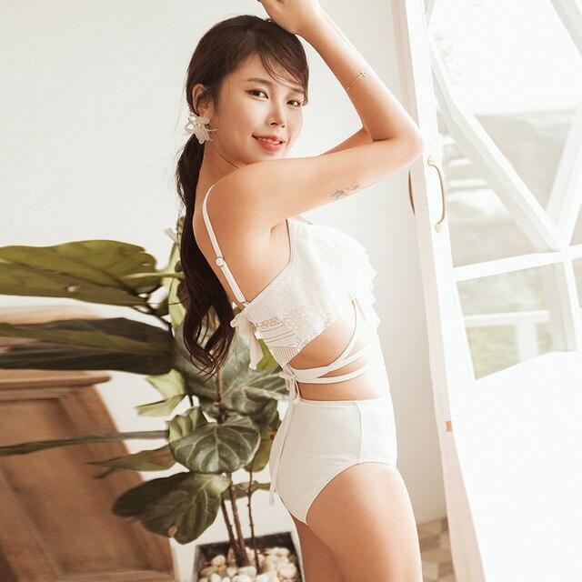 2 Piece Swimsuit Women High Leg Bikini Swim Suits Swimming Women's Wear 2019 Korea Ins Light Luxury White Lace Waist Bind Woman 2