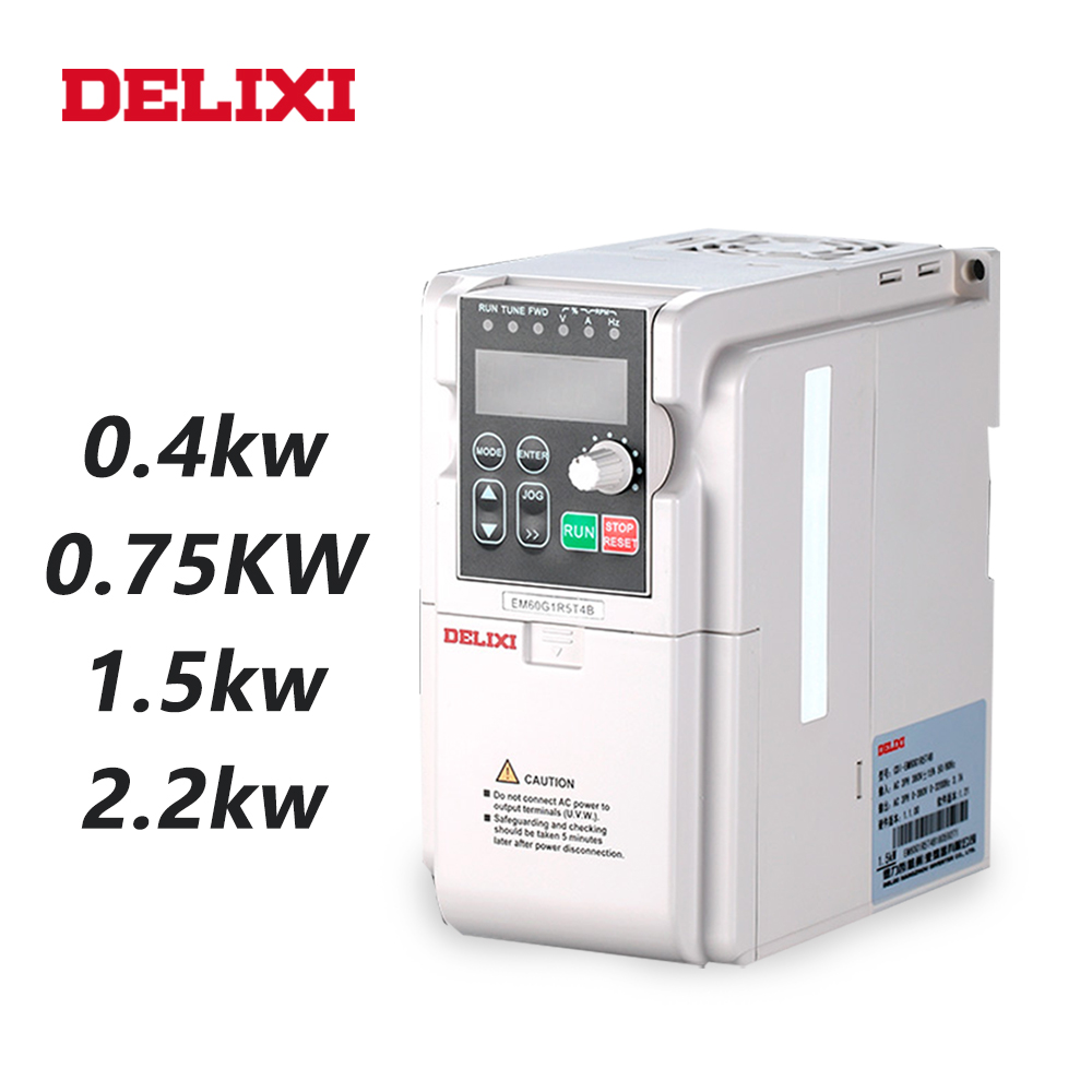DELIXI AC 220V 0.4KW/0.75KW/1.5KW/2.2KW single phase VFD inverter drives for motor Speed Control 50/60HZ DC frequency converterDELIXI AC 220V 0.4KW/0.75KW/1.5KW/2.2KW single phase VFD inverter drives for motor Speed Control 50/60HZ DC frequency converter