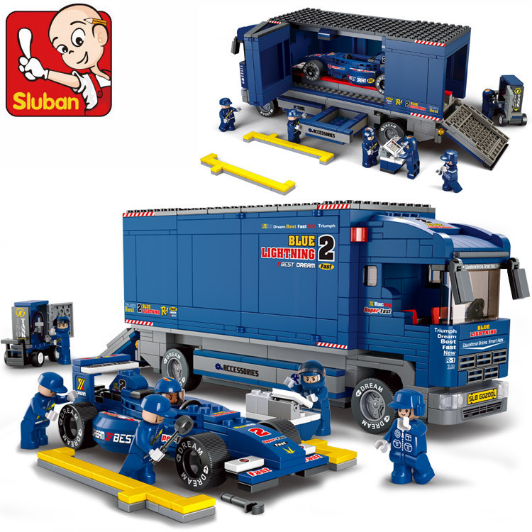 Compatible with lego SLUBAN 0357 F2 Racing Truck Building Block Set 3D Construction Brick Toys Educational Block toy 423pcs octonauts undersea explorer compatible building block set 3d construction brick toys educational block toy kit children