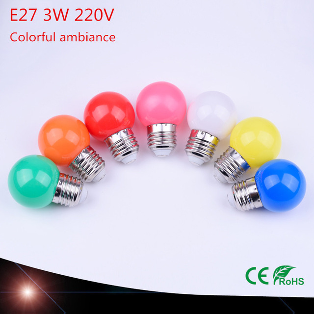 10pcs home colorful lighting lamp LED E27 3 w-saving green blue red white yellow orange pink energy light bulb 220 V Lamparas
