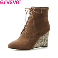 ESVEVA 2018 Sequins Women Boots Spring Autumn High Heels Ankle Boots Wedges Heel Pointed Toe Lace