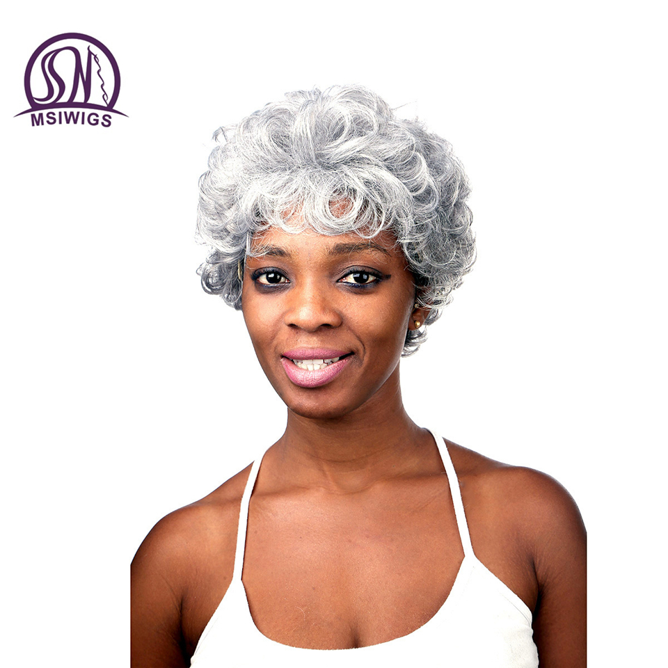 MSIWIGS 28CM Silver White Synthetic Curly Wigs for Elder Women African American Short Hair Ombre Wig Heat Resistant