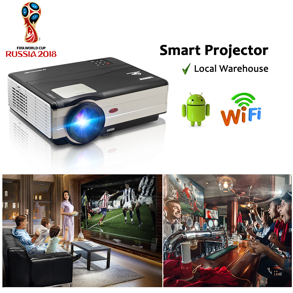 CAIWEI LCD font b Android b font WiFi Projector Digital LED Proyector Home Movie Theater Beamer