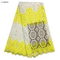 2017 Free Shipping High Quality Guipure Lace Fabrics Yellow Water Soluble African Lace Fabric For Wedding