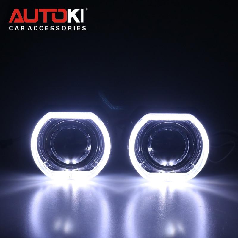 Autoki X5 Square LED Angel Eye DRL Bi Xenon Lens Car Projector Headlight HID Auto Tuning