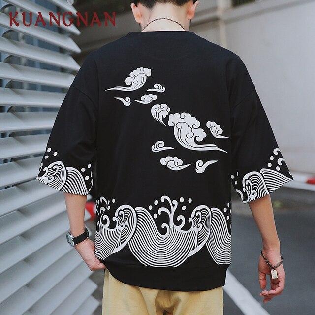 0a2e81c16 KUANGNAN Ondas Impresso T Shirt Homens Modas Harajuku Camisa Dos Homens T  Hip Hop Streetwear Camisas