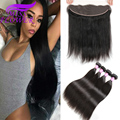 Brazilian Virgin Hair with Closure Brazilian Straight Hair lace frontal closure with bundles Straight Hair Human Hair weave